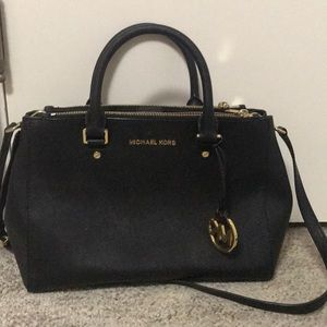 Black Michael Kors Sutton Safiano leather purse